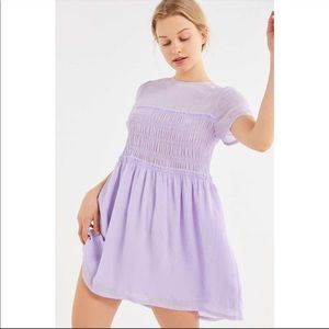UO smocked baby doll dress in purple